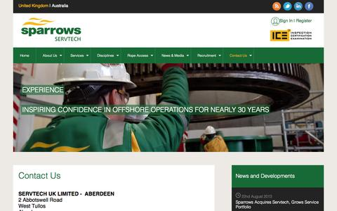 Screenshot of Contact Page servtech.co.uk - Sparrows Servtech: Contact Us - captured Oct. 26, 2014