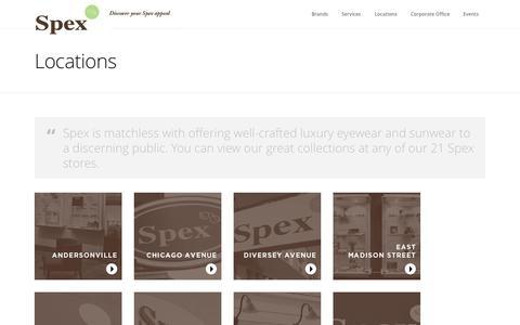 Screenshot of Locations Page spexoptical.com - Locations - Spex OpticalSpex Optical - captured Oct. 1, 2014