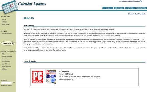 Screenshot of About Page calendar-updates.com - Calendar Updates - About Us - captured Sept. 22, 2014
