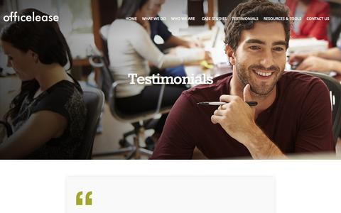 Screenshot of Testimonials Page officelease.com - Testimonials | OfficeLease - captured Feb. 26, 2016