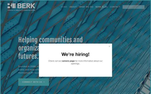 Screenshot of Home Page berkconsulting.com - BERK Consulting - captured Dec. 18, 2018