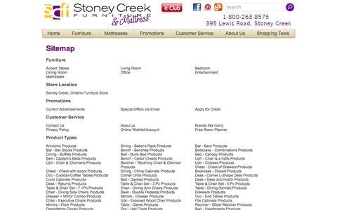 Screenshot of Site Map Page stoneycreekfurniture.com - Stoney Creek Furniture  Sitemap - Toronto, Hamilton, Stoney Creek, Ontario Furniture Store - captured Sept. 19, 2014