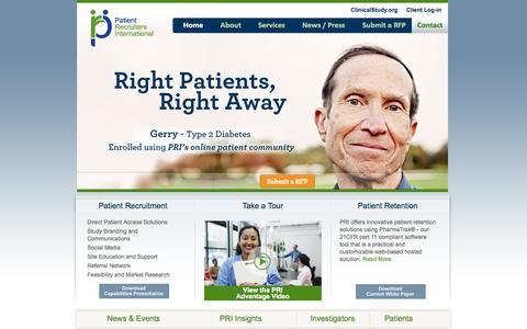 Screenshot of Home Page patientrecruiters.com - Patient Recruitment Agency, Patient Retention Services | Patient Recruiters - captured Oct. 2, 2014