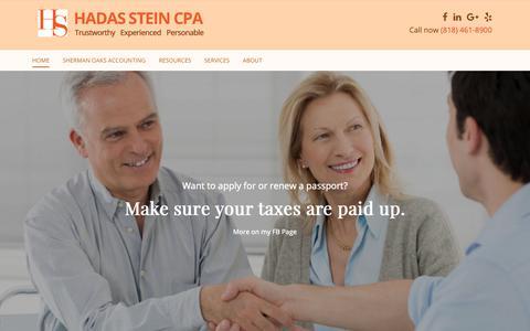 Screenshot of Home Page hadassteincpa.com - Home - Hadas Stein CPA, Inc. - captured Nov. 9, 2018