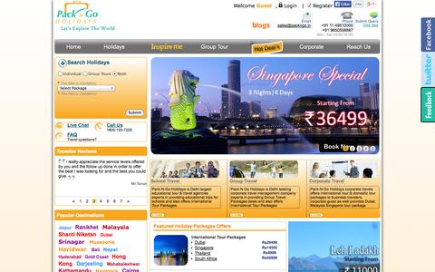 Screenshot of Home Page Signup Page Login Page packngo.in - Domestic, International Tour Packages | International Holidays Packages, Travel From India, Travel Agents In India - Packngo Holidays - captured Sept. 19, 2014