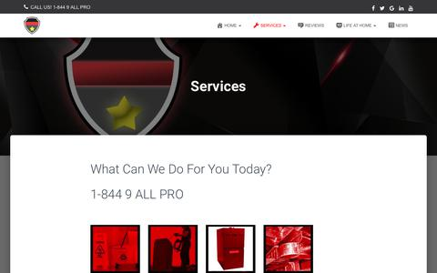 Screenshot of Services Page homeprosgroup.com - Services | Home Pros Group - Edmonton's Premier Service Provider - captured July 21, 2018