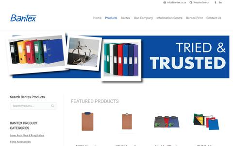 Screenshot of Products Page bantex.co.za - Bantex Stationery Supplies | Lever Arch Files | Ringbinders - captured Nov. 22, 2016