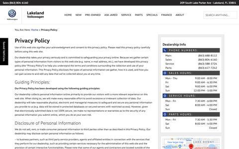 Screenshot of Privacy Page lakelandvw.com - Privacy Policy | Lakeland Volkswagen - captured Sept. 26, 2018