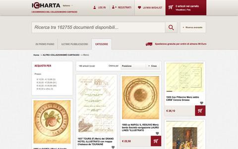 Screenshot of Menu Page icharta.com - Menù - ALTRO COLLEZIONISMO CARTACEO - captured June 9, 2016