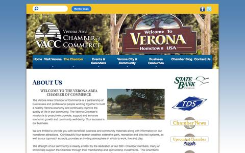 Screenshot of About Page veronawi.com - Verona Area Chamber of Commerce - captured Oct. 26, 2014