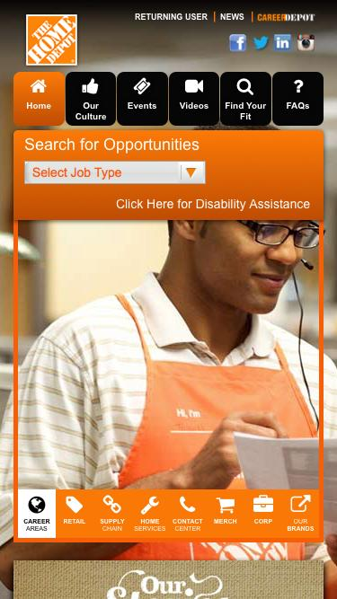 Screenshot of Jobs Page  homedepot.com - Home Depot Careers