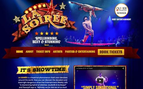 Screenshot of Home Page la-soiree.com - La Soirée: Official London Site - captured Dec. 6, 2015
