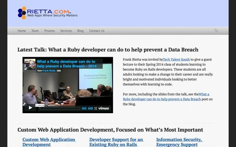 Screenshot of Home Page rietta.com - Ruby and AngularJS Development Services - Rietta - captured Sept. 23, 2014