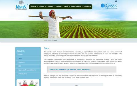 Screenshot of Team Page kisangroup.com - Kisan - captured Sept. 23, 2014