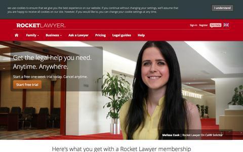 Screenshot of Pricing Page rocketlawyer.co.uk - Plans and Pricing - RocketLawyer - captured Sept. 25, 2014
