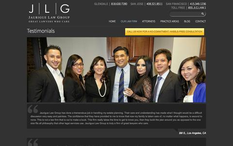 Screenshot of Testimonials Page jlglawyers.com - Testimonials - Jaurigue Law Group - captured Oct. 6, 2014