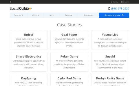 Screenshot of Case Studies Page socialcubix.com - Case Studies App Development Company - captured Sept. 23, 2014