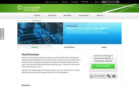 Screenshot of Developers Page centurylinktechnology.com - IaaS, PaaS and Cloud Database solutions - Cloud Developer | CenturyLink Technology Solutions - captured Sept. 16, 2014