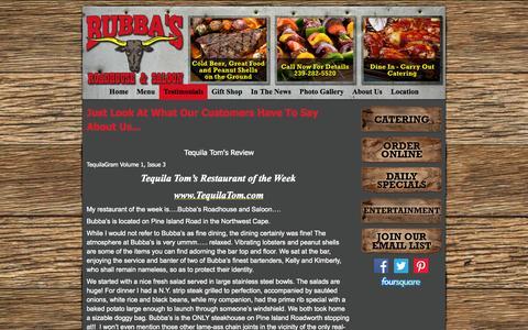 Screenshot of Testimonials Page bubbasroadhouse.net - Testimonials - Welcome To Bubba's Roadhouse & Saloon! - captured Oct. 5, 2014