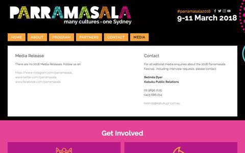 Screenshot of Press Page parramasala.com - Media — Parramasala - captured July 16, 2018
