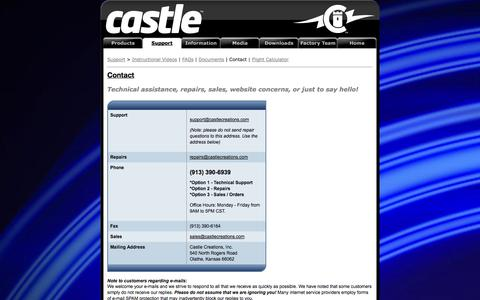 Screenshot of Contact Page castlecreations.com - Castle Creations | Contact - captured Sept. 19, 2014