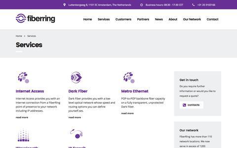 Screenshot of Products Page fiberring.com - Services - Fiberring.com - captured June 5, 2017