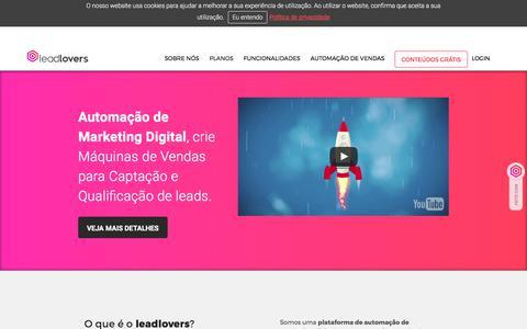 Screenshot of Home Page leadlovers.com - leadlovers - Plataforma de Marketing Digital e Vendas - captured July 1, 2017