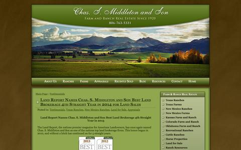 Screenshot of Testimonials Page chassmiddleton.com - Testimonials: Farms, Land and Ranch Real Estate - captured Oct. 2, 2014