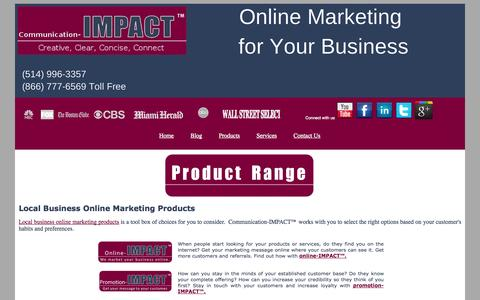 Screenshot of Products Page communication-impact.ca - Local business online marketing | internet Business Promotion - captured Oct. 6, 2014