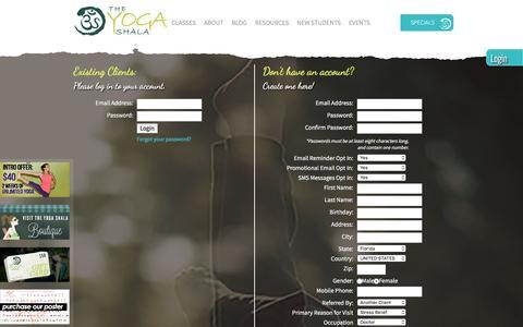 Screenshot of Login Page theyogashala.org captured Jan. 11, 2016