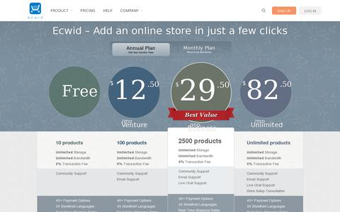 Screenshot of Pricing Page ecwid.com - Ecwid plans and pricing - captured July 19, 2014