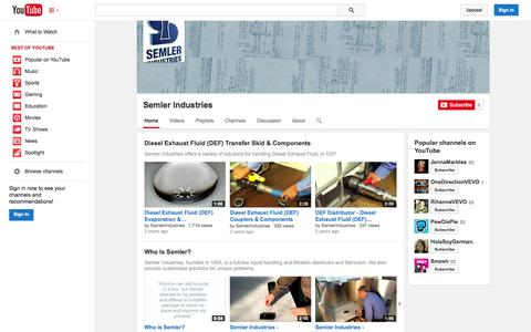 Screenshot of YouTube Page youtube.com - Semler Industries  - YouTube - captured Oct. 26, 2014