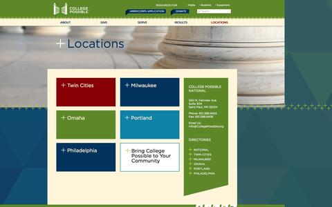 Screenshot of Contact Page Locations Page collegepossible.org - Locations | College Possible - captured Oct. 22, 2014