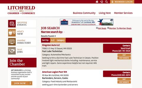 Screenshot of Jobs Page litch.com - Job Search - Contact Us at the Chamber - captured Oct. 27, 2014