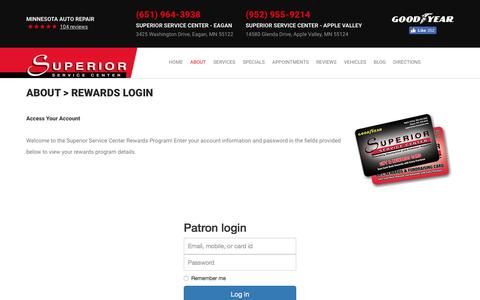 Screenshot of Login Page superiorservicecenter.com - Rewards Login | Superior Service Center - captured Aug. 16, 2016