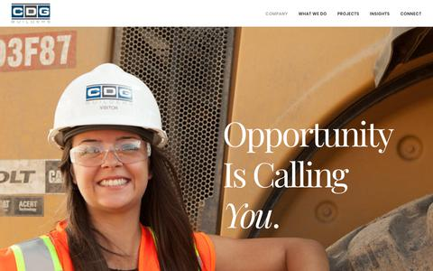 Screenshot of Jobs Page cdgbuilders.com - CDG Builders | Careers | Join Our Team | Opportunity | Advancement - captured July 14, 2018