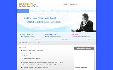 Screenshot of About Page dolphinconsultancy.com - Dolphin Consultancy - Dolphin Elevators, Estate Exchage, Manous Management Consultants - captured Sept. 30, 2014