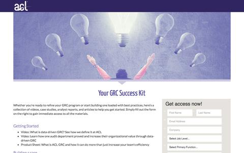 Screenshot of Landing Page acl.com - Download Your GRC Success Kit - captured March 4, 2018