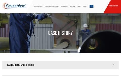 Screenshot of Case Studies Page emisshield.com - Case History Archive - Emisshield - captured Sept. 28, 2018