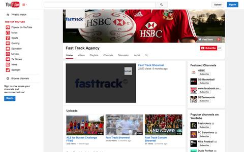 Screenshot of YouTube Page youtube.com - Fast Track Agency  - YouTube - captured Oct. 23, 2014