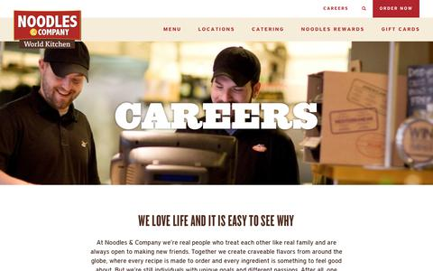 Screenshot of Jobs Page noodles.com - Careers - Landing - Noodles & Company - captured Jan. 9, 2018