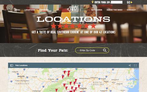 Screenshot of Locations Page fatz.com - Fatz Southern Kitchen - Locations - captured Oct. 13, 2017