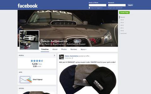 Screenshot of Facebook Page facebook.com - Oakos Automotive - Sterling Heights, MI - Car Parts & Accessories, Automotive Repair | Facebook - captured Oct. 26, 2014
