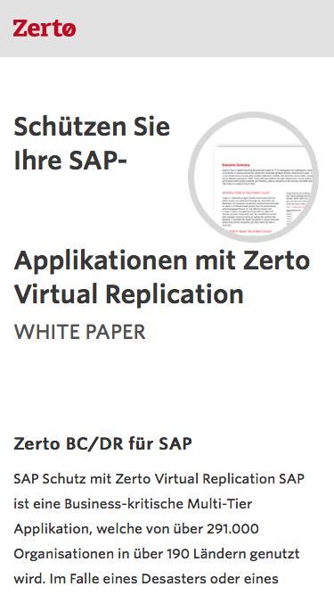 Schützen Sie Ihre SAP-Applikationen mit Zerto Virtual Replication
