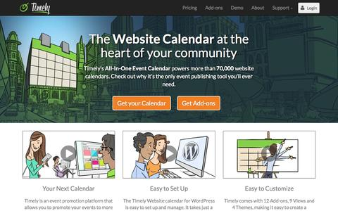 Screenshot of Home Page time.ly - Free Website Calendar by Timely - captured Sept. 17, 2014
