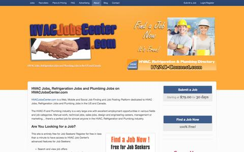 Screenshot of About Page hvacjobscenter.com - HVAC Jobs, Refrigeration Jobs and Plumbing Jobs - captured July 10, 2016