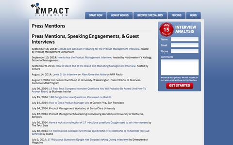Screenshot of Press Page impactinterview.com - Press Mentions | Impact Interview - captured Sept. 19, 2014