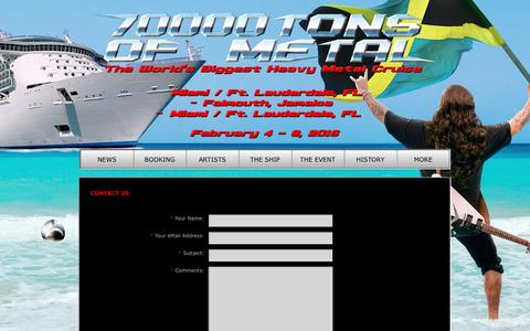 Screenshot of Contact Page 70000tons.com - CONTACT US | 70000TONS OF METAL - The World's Biggest Heavy Metal Cruise - captured Jan. 15, 2016