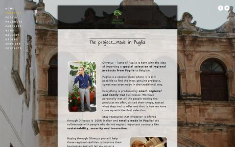 Screenshot of About Page olivetus.com - About us — Olivetus Taste of Puglia - captured Oct. 26, 2014