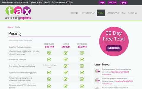 Screenshot of Pricing Page theaccountingexperts.co.uk - Contractor Accountants   Online Accounting - The Accounting Experts - captured Sept. 19, 2014